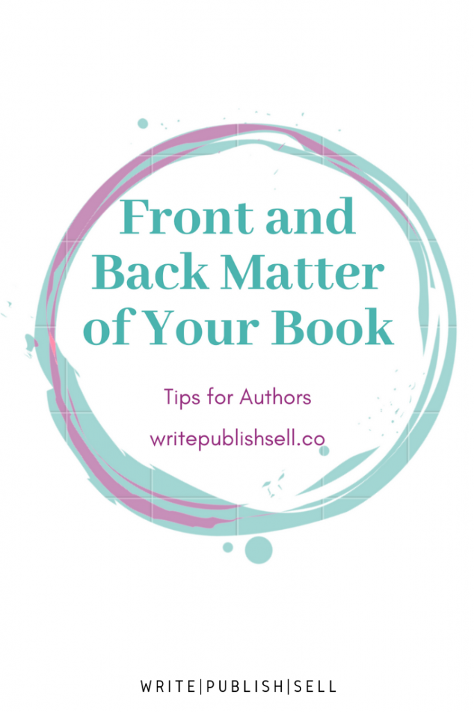front and back matter of your book