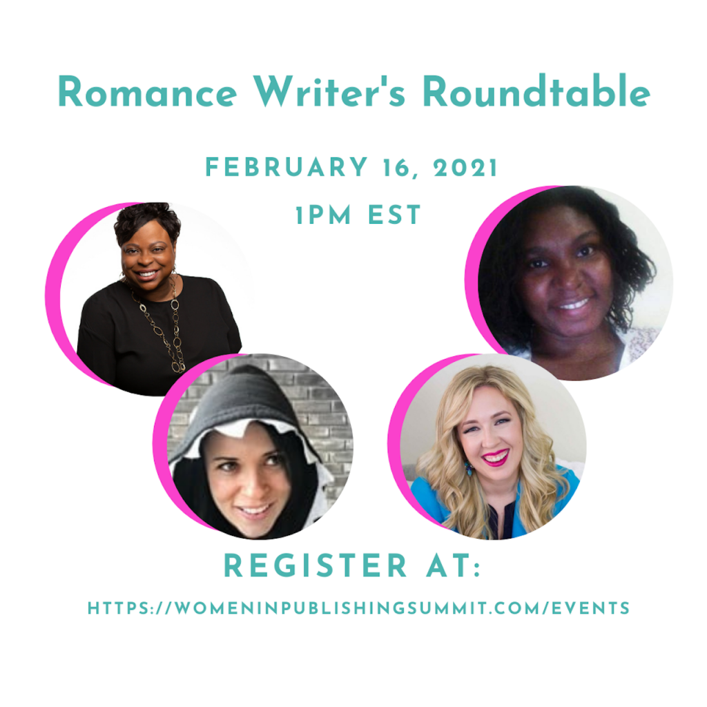 Graphic featuring the guests of the Romance Roundtable.