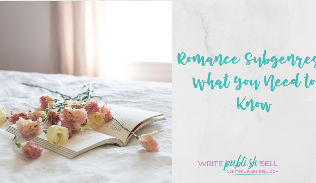 Open book with flowers scattered across the pages representing romance subgenres.